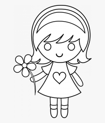 Daisy Girl Colorable Line Art Free Clip Art Girl Clipart Black And White HD Png Download Transparent Png Image PNGitem