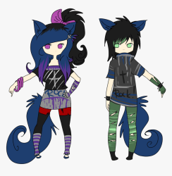 Vector Free Library Punk Drawing Anime Wolf Girl And Wolf Boy HD Png Download Transparent Png Image PNGitem