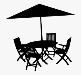 Silhouette Table Umbrella Chairs Summer Restaurant Outdoor Furniture Silhouette Png Transparent Png Transparent Png Image PNGitem