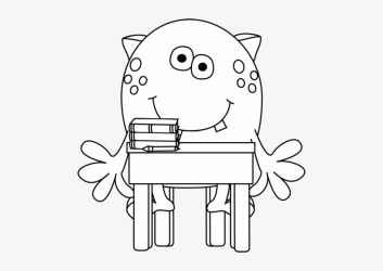 Black And White School Clipart School Monster Clipart Black And White Free Transparent PNG Download PNGkey