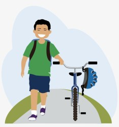 Kids Walking To School Clipart Walking A Bike Cartoon Free Transparent PNG Download PNGkey