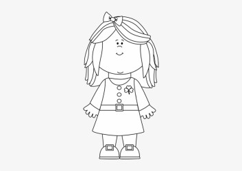 Black Lady Cliparts Girl Clipart Black And White Outline Free Transparent PNG Download PNGkey