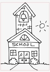 Cute Schoolhouse Coloring Page Free Clip Art School Clipart Black And White Free Transparent PNG Download PNGkey