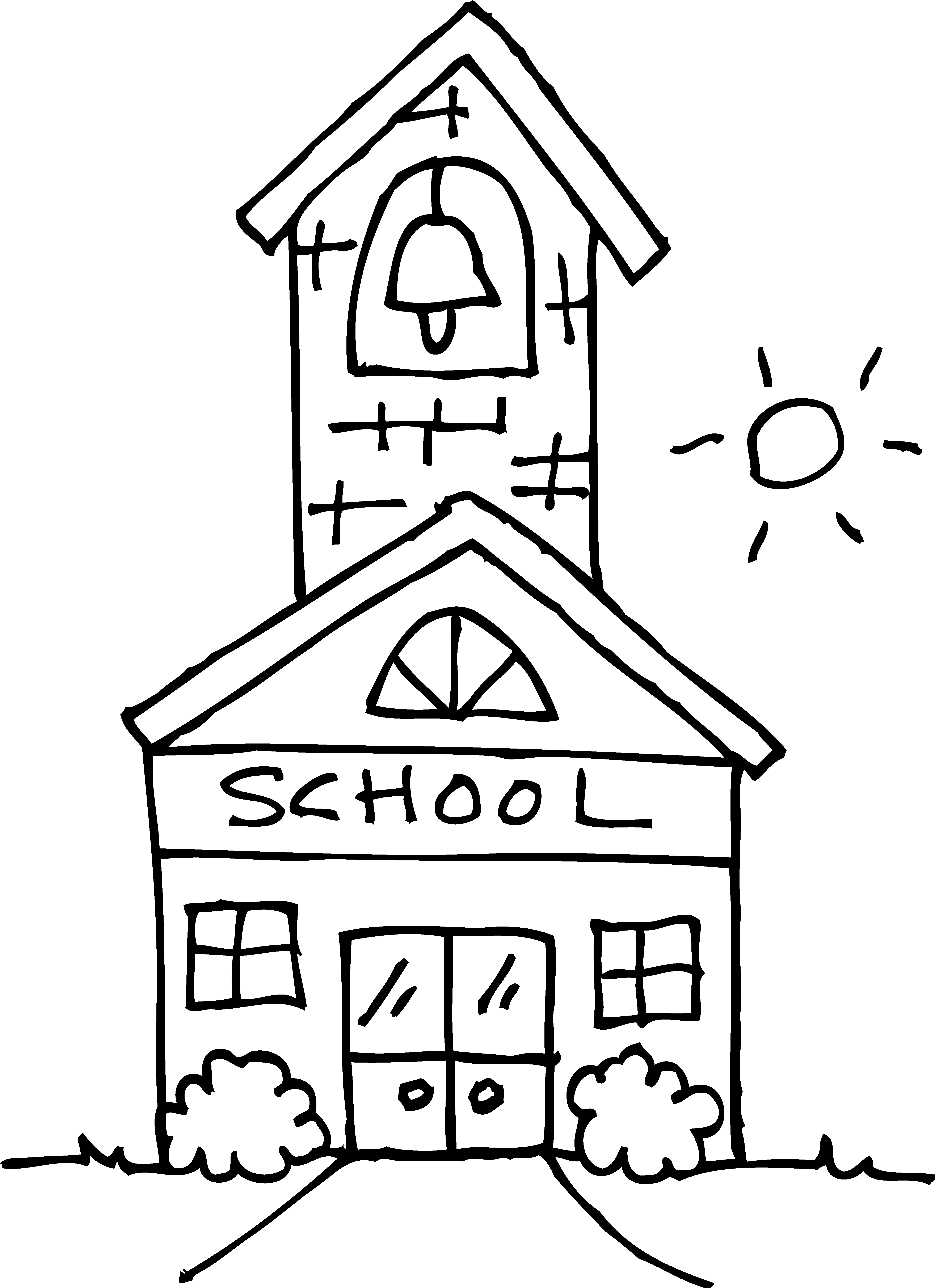 School House Coloring Page : school, house, coloring, Download, Schoolhouse, Coloring, School, Clipart, Black, White, Image, Background, PNGkey.com
