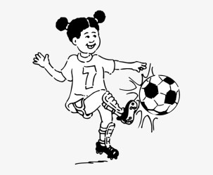 Girl Playing Football Outline Clip Art At Clker Play Soccer Clipart Black And White 570x595 PNG Download PNGkit