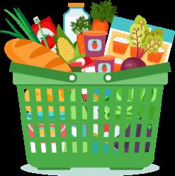 Download Groceries Vector Food Basket Png Freeuse Grocery Basket Clip Art Full Size PNG Image PNGkit