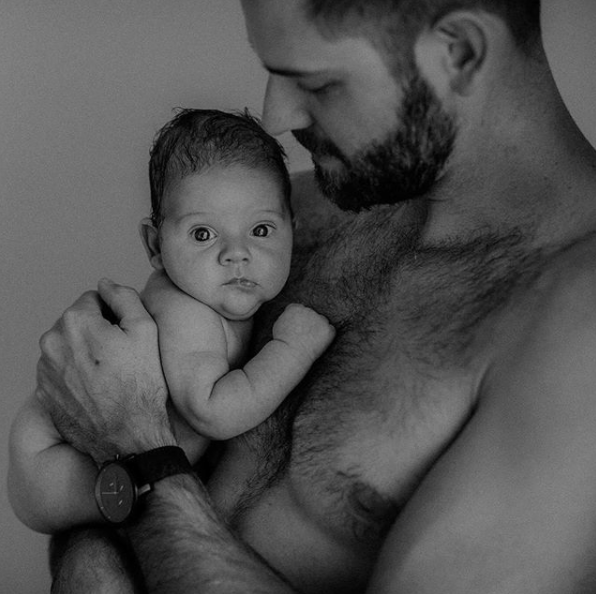 dad in skin-to-skin contact with baby