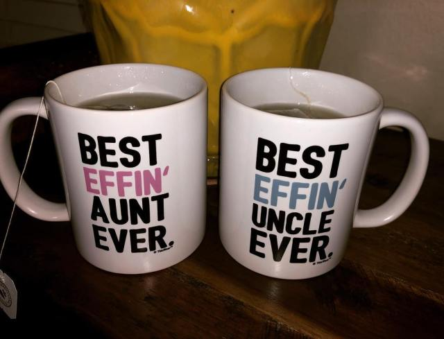 The best effin ' niece and nephew got these awesome mugs for us