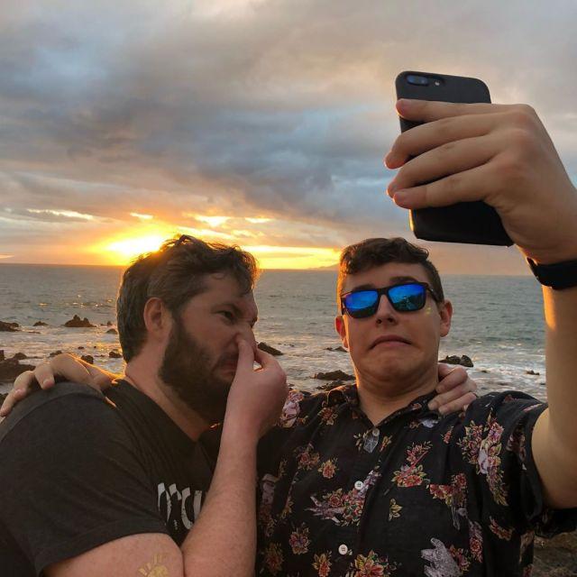 Two weirdos taking selfies