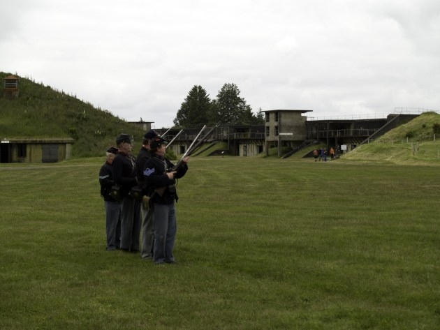 Civil War Reenactors readying a volley fire