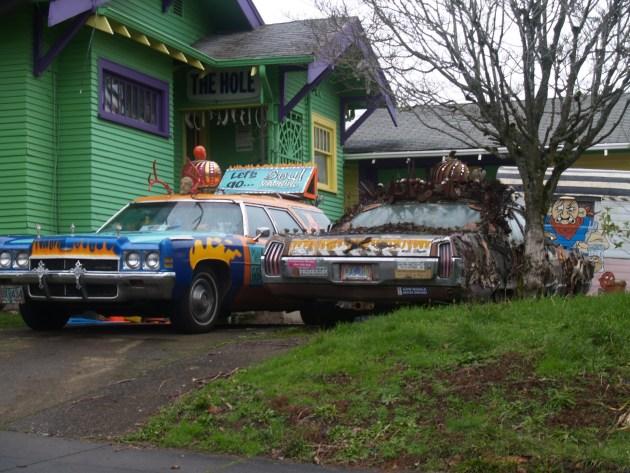 Art Cars in a driveway in Portland Oregon