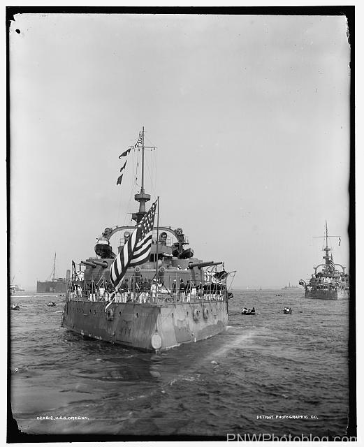 USS Oregon, August 20th, 1898 after the Spanish-American War.