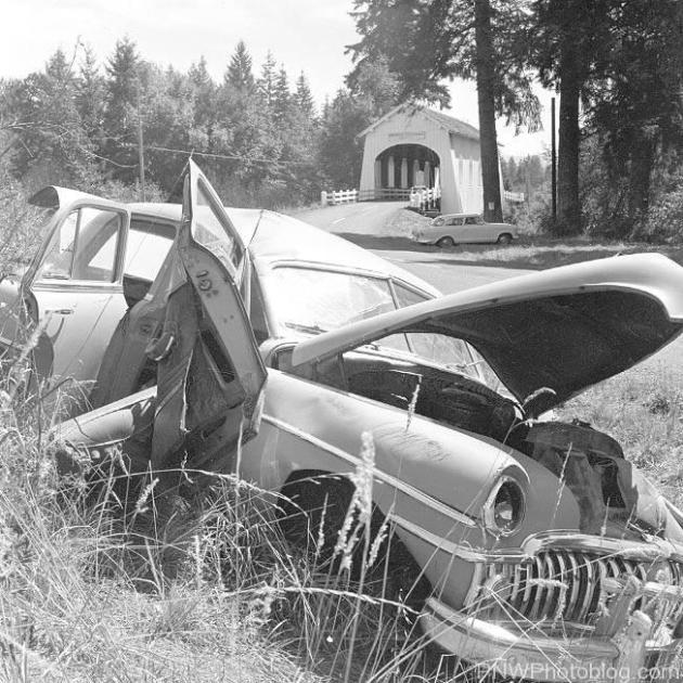 Bad car accident just past the bridge, photo taken 1961 by Ben Maxwell