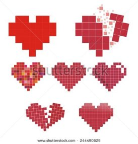 stock-vector--bit-style-pixelated-hearts-set-collection-for-valentines-day-244490629