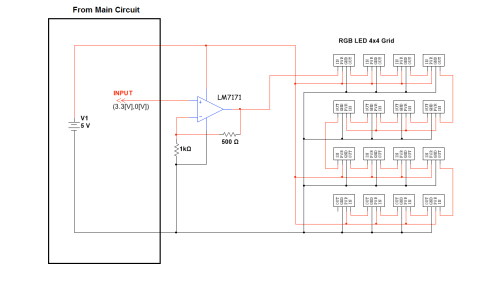 small resolution of figure 2 circuit diagram illustrating the first row of leds connected to the es388