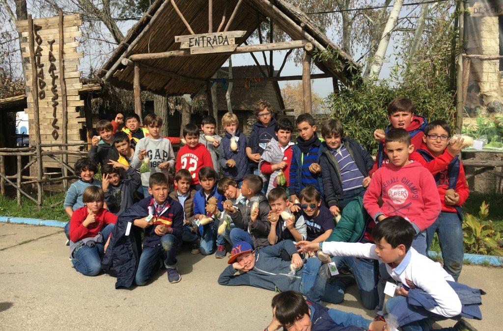 La primaria del Colegio Entrepinos disfruta de una jornada fantástica en el Poblado Tartésico de Gibraleón.