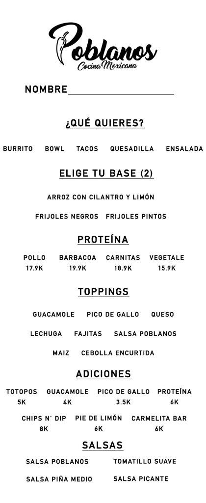 Poblanos Cocina Mexicana Menú
