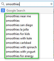 Graphic showing Google Autocomplete Queries for the term Smoothies