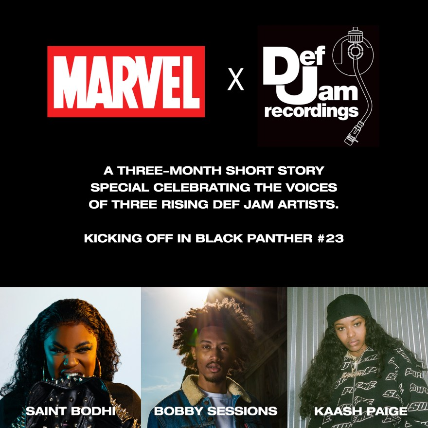 Saint Bodhi, Bobby Sessions and Kaash Paige Writing Short Stories for Marvel and Def Jam Collaboration