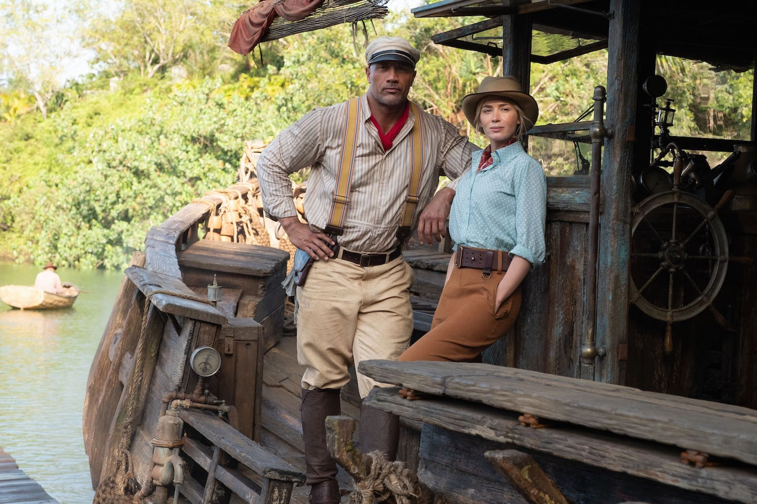 Dwayne Johnson as Frank and Emily Blunt as Lily in Disney's Jungle Cruise. Photo by Frank Masi. 2020 Disney Enterprises, Inc. All Rights Reserved.