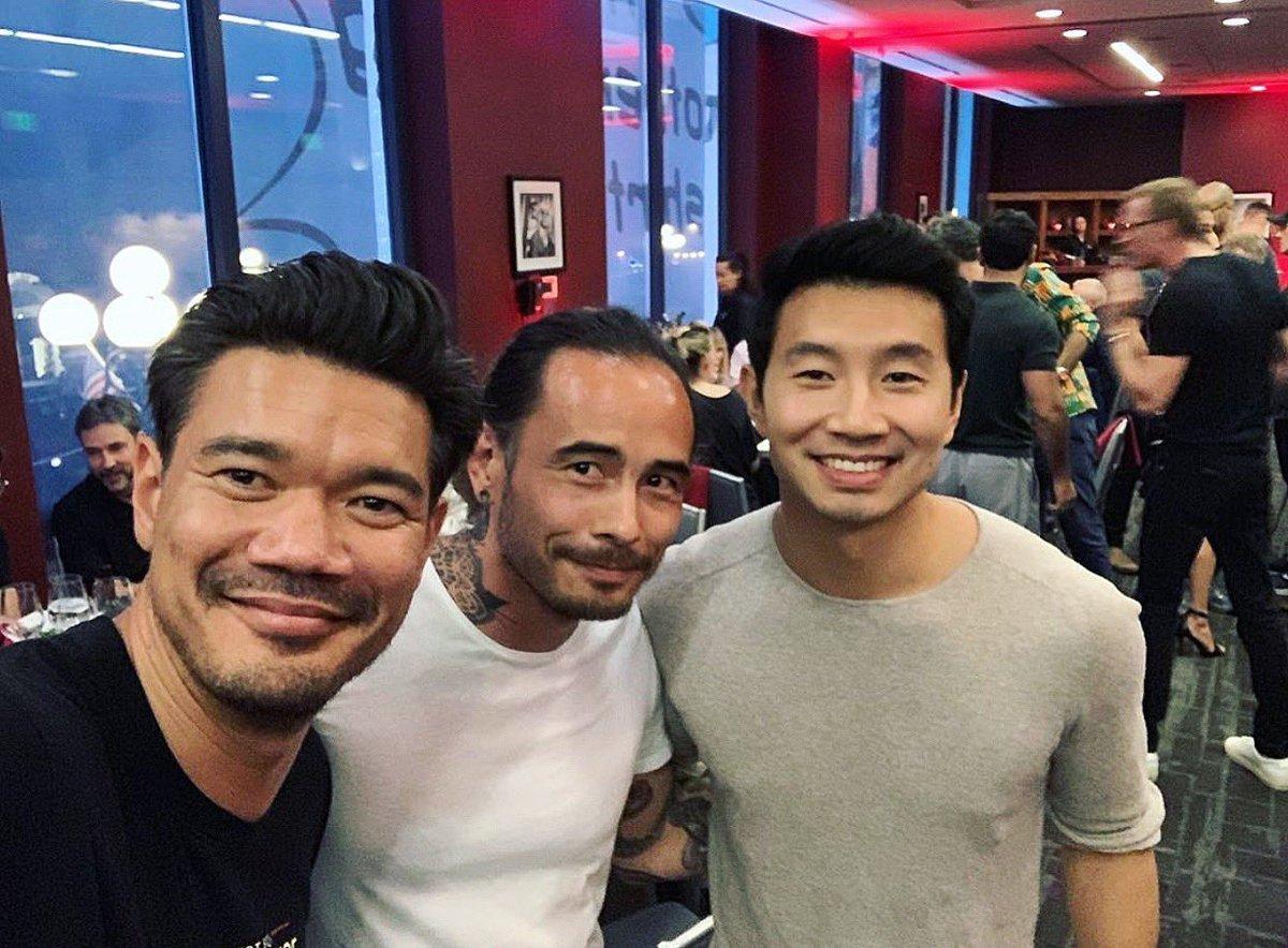(L-R) Shang-Chi Director Destin Daniel Cretton, Writer Dave Callaham and Actor Simu Liu