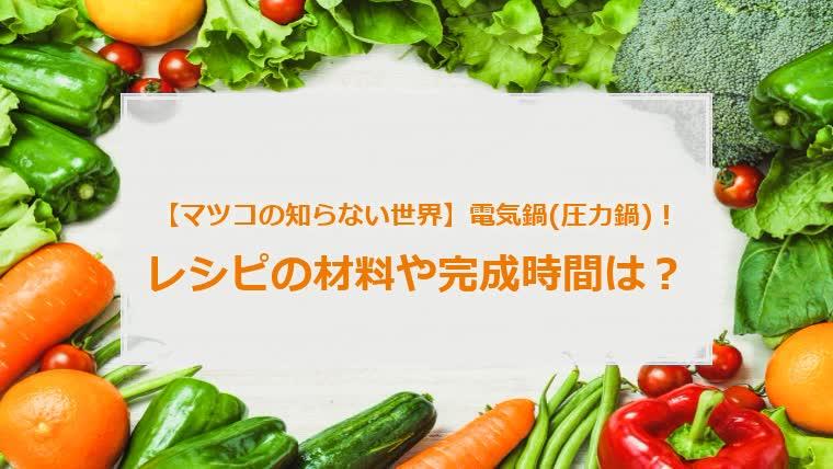 松子の知らない世界の電気鍋のレシピ,マツコの知らない世界の圧力鍋のレシピ