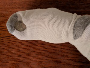 old sock for coin cleaning