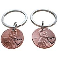 Double Keychain Set 2017 US One Cent Penny Keychains with Heart Around Year; 1 Year Anniversary Gift, Couples Keychain