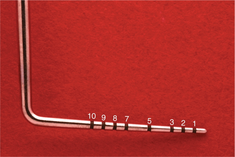 A photo shows a standard periodontal probe.