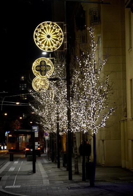 Christmas lights on Balassi street
