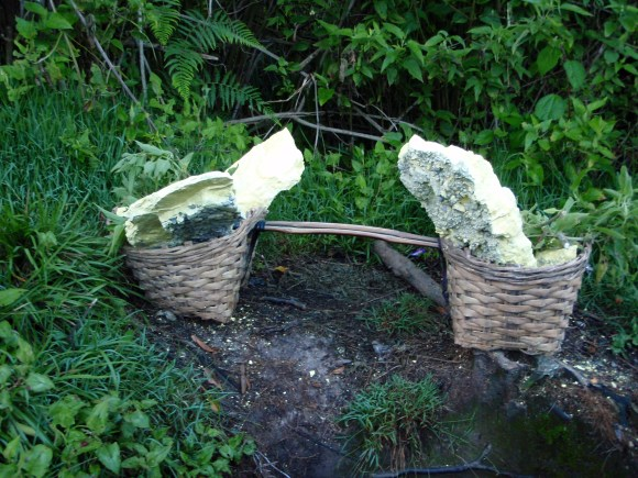 Hiking up to a sulfur mine in Ijen - workers carried baskets of sulfur like this 5k up and down the mountain