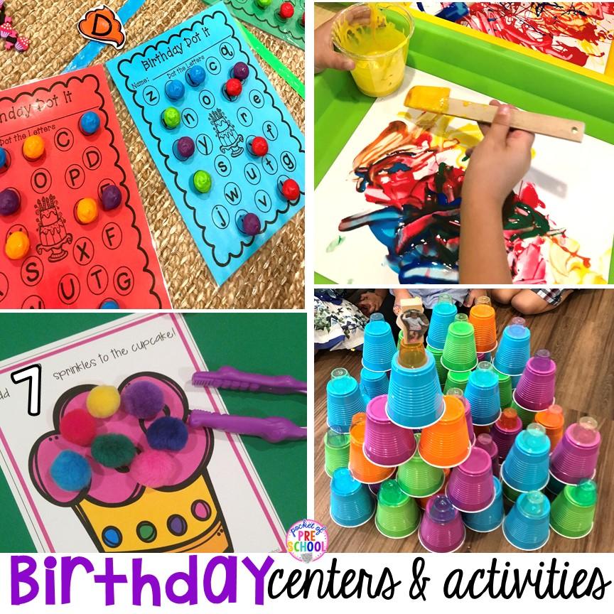 birthday themed centers activities
