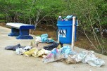 The trash collected after a night of weekend beachgoers.