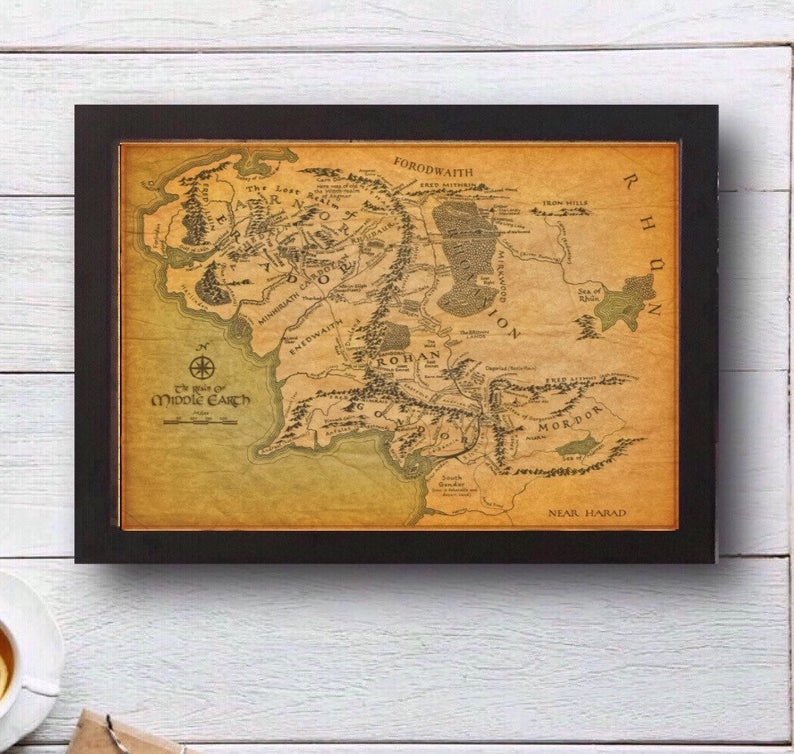 Gorgeously detailed map of middle earth lord of the rings wall art