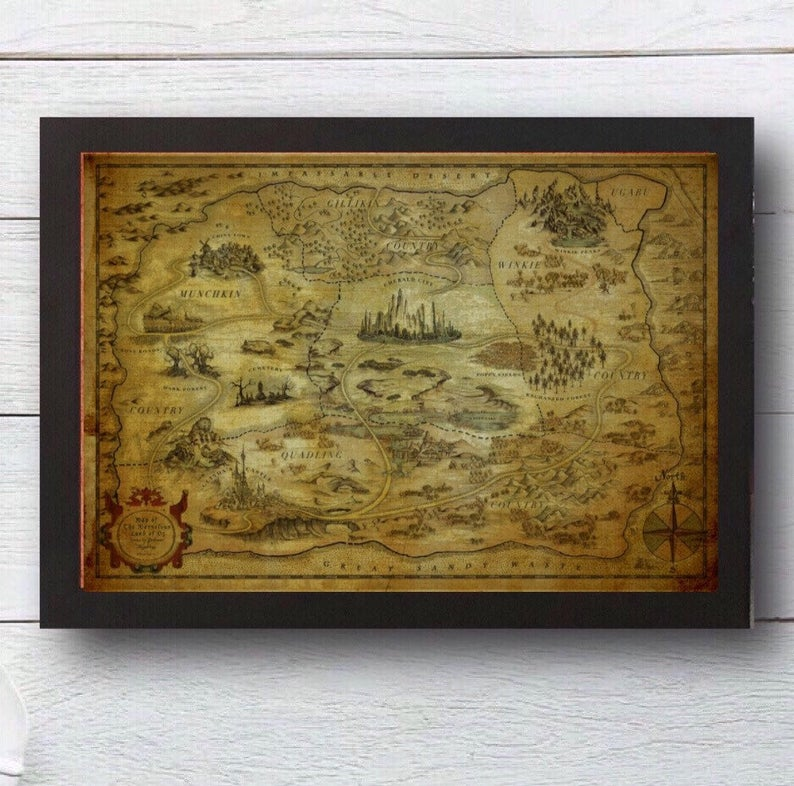 Beautifully detailed map of the land of Oz the wizard of oz map