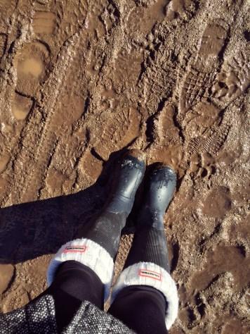 Getting muddy. Unplanned hiking attire