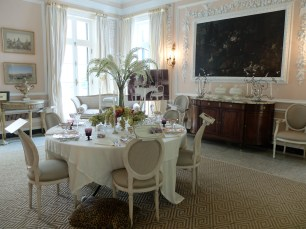 Some of the rooms in the house were redone by notable interior designers. The dining room was done by Bunny Williams. I used to do flower arrangements for Bunny's country house before she came up on the weekends.