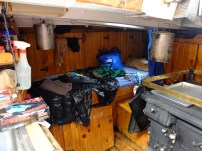 Sheri's bunk, right next to her wood-fired stove.