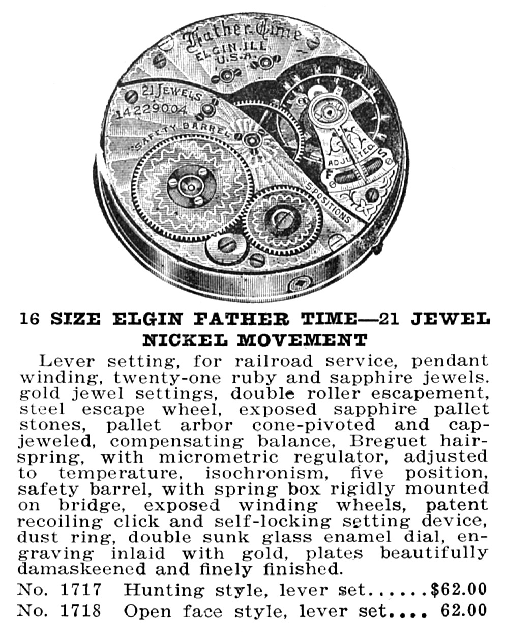 Elgin Pocket Watch: Serial Number 15423073 (Grade 374)