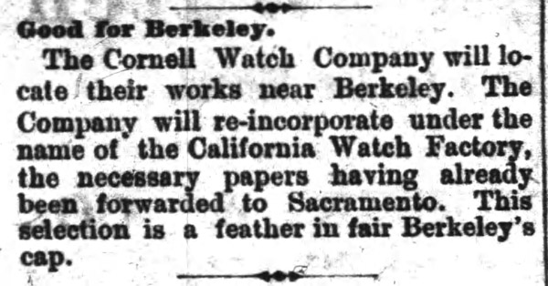 Cornell Watch Co. Pocket Watch Company History & Profile