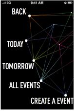 Schermata applicazione - Eventi