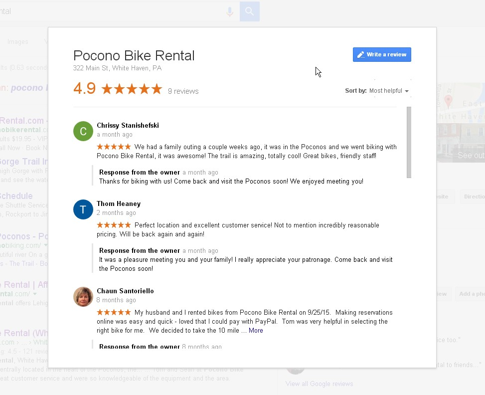 Google Reviews Pocono Bike Rental