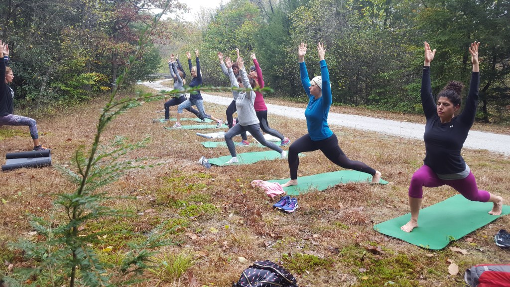 Yoga on the Bike Trail in the Poconos with Nearme Yoga and Pocono Bike Rental Yoga Class Outdoors