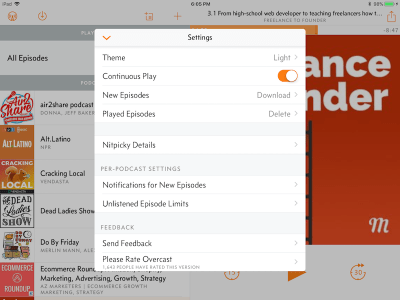 Screenshot of the Settings Options on the Overcast Podcast App | Find the Best Podcast App with Podcast Maniac