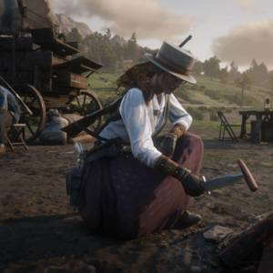 Red Dead Redemption screenshot of character cooking at campfire