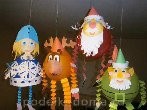 новогодние персонажи из шаров и бумаги