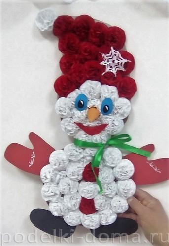 снеговичок из бумаги и картона