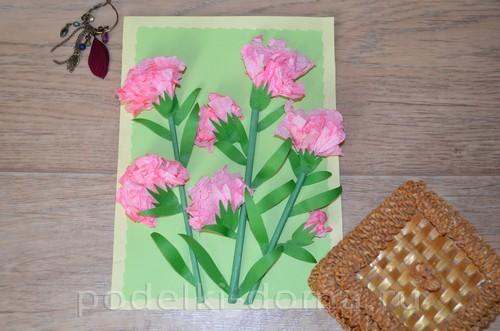 бумажные цветы гвоздики аппликация17