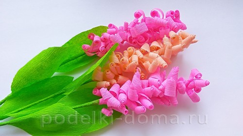 цветы гиацинты из гофробумаги 10