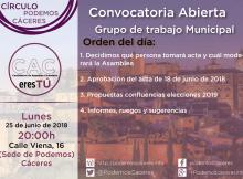 25 cartel asamblea de CACeresTú de 2018